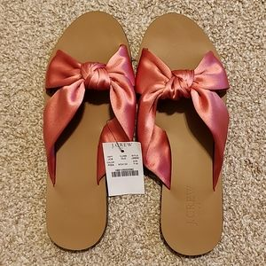 J. Crew Pink Satin Knotted Bow Slippers